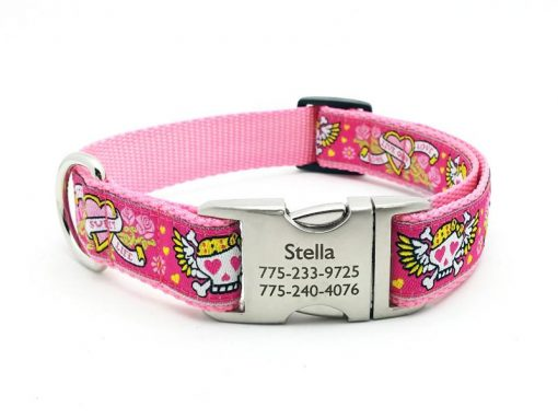 Pink Tattoo Dog Collar with Personalized Buckle