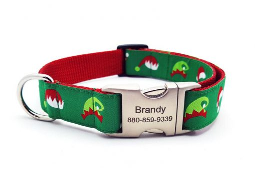 Santa & Elf Caps Dog Collar with Personalized Buckle