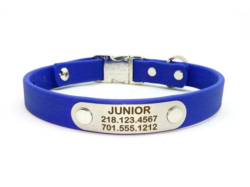 Side Release Buckle Waterproof Collar with Laser Engraved NamePlate