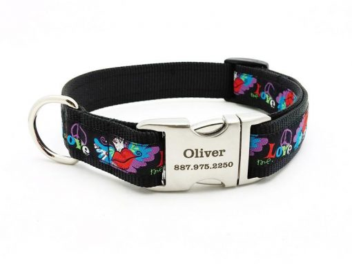 Tattoo Wings Dog Collar with Personalized Buckle
