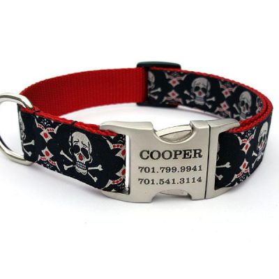 Tribal Skulls Dog Collar with Personalized Buckle